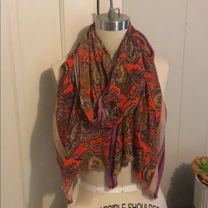 Printed scarf stripe and paisley